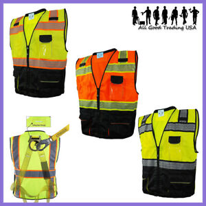 L&M Hi Vis Vest Surveyor Safety Vest Class 2 D-Ring Harness Photo ID Pocket