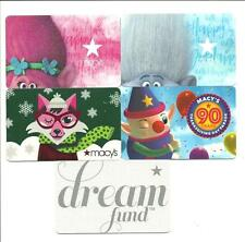 Lot /5 Macy's Gift Cards No$Value Collectible Trolls Fox Thanksgiving Day Parade