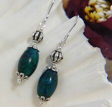 Green Marbled PEACOCK JASPER & 925 STERLING Silver Long Drop Earrings