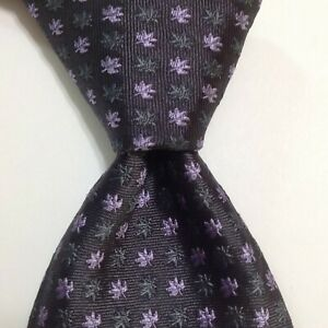 LONGCHAMP PARIS Men's Silk Necktie ITALY Luxury FLORAL LEAVES Gray/Purple NEW