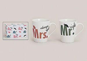 Mr. right + Mrs. always right Tassen Set 2-teilig Hochzeit Paar Becher Kaffee