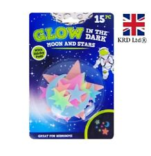 GLOW IN THE DARK MOONS & STARS Plastic Stickers Ceiling Wall Bedroom OT319067 UK