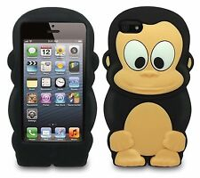 For IPhone 5 5S SE 3D Monkey TPU Silicone Gel Rubber Character Case - Black