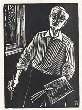 Conrad FELIXMÜLLER SELBST mit PALETTE - Orig.Holzschnitt Söhn 635 - monogr. 1967