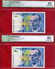 "France 2 x 50 Francs Banknotes 1997, P-157Ad, ICG 45 EF, ""Saint-Exupéry"" !!!!!"