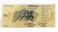 1974 Ten 10 Dollar Lottery Ticket 1 Million Dollar Montreal Olympic Canada I147
