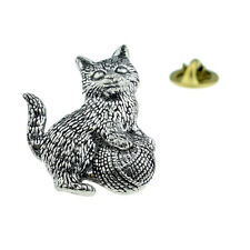 Kitten Cat English Pewter Lapel Pin Badge XTSPBA42