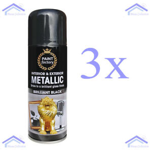3x Black Metallic Spray Paint Aerosol Auto Matt Gloss Lacquer Wood Metal 200ml