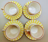 Tea Cup and Saucer Set, Yellow stripes, Trimmed in Gold, set of Four