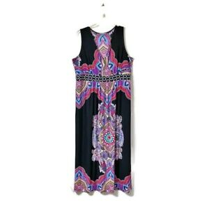 NY Collection Woman Maxi Dress Plus Size 2X Psychedelic Boho Festival Stretch
