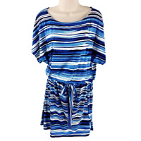Chico's Size 1 Medium Striped Drop Tie Waist Dress Blue Stretch Casual Knit