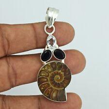 Ammonite & Black Onyx Gemstone Handmade Pendant Ethnic Jewelry VFP21