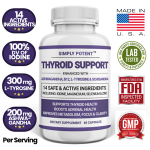 Thyroid Support Supplement with Iodine B12 - Weight Loss Energy Adrenal Capsules