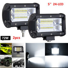 2x 5'' 72W LED Work Light Bar Flood Driving Lamp Jeep Truck Boat Offroad+Bracket