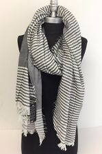 Light-weight woven Stripe and solid w/ Fringe Men Long Scarf Shawl Black/White