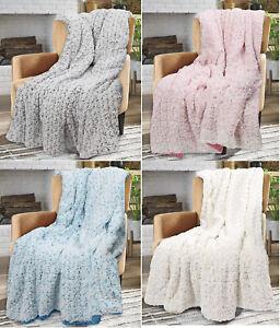 Soft & Cosy Rosette Throw Blanket Faux Fur Warm Throw sherpa Fleece Blanket