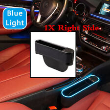 1Pcs Car Right Side Seat Gap Storage Box 4 USB Ports With Blue Atmosphere Light