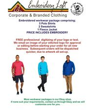PERSONALISED EMBROIDERED POLO SHIRT WORKWEAR PACKAGE,YOUR LOGO or TEXT PACK 2