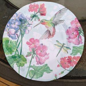 "Hummingbird Melamine MAISON & ME Floral Dragonfly 4 new plates garden plastic 9"""