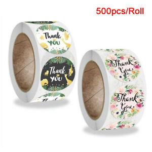 500pcs/roll Round Floral Deer Thank You Stickers Package Seal Labels