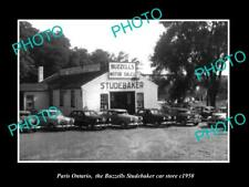 OLD POSTCARD SIZE PHOTO OF PARIS ONTARIO THE STUDEBAKER CAR GARAGE c1950