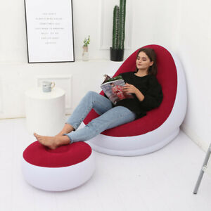 Home Comfy With Footrest Inflatable Large Bean Bag Couch Chair Sofa Lazy Lounger