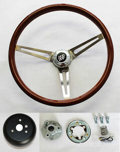1964-1966 Buick Skylark GS Wood Steering Wheel High Gloss Grip 15""