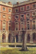 Fountain Court, Hampton Court. London. By Ernest Haslehust 1920 old print