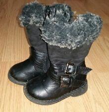Gorgous black faux fur trim YOUNG DIMENSIONS winter boots shoes size 4
