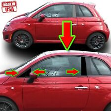 Black Pillar Trim for Fiat 500 10-20 6pc Set Door Cover Piano Window Post