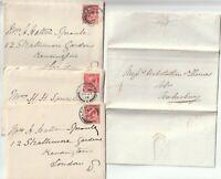 1837 RED UDC LEDBURY PMK E/L & 3 x 1914 CHATTY LETTERS EX LOWER HALL LEDBURY