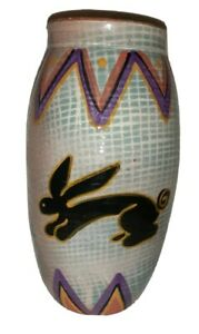 African Art Terracotta Rabbit vase. Hand  thrown, painted and Glazed.