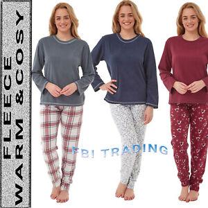 Ladies Pyjamas Set Nightwear Pjs Soft Loungewear FLEECE WINTER  Sleeve Size 8-22