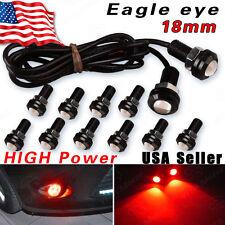 12X Red Eagle Eye LED Car Fog DRL Reverse Backup Parking Signal Lights 12V 18mm