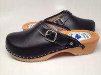 Womens Wooden Black Leather Clogs Shoes Slip Resistant US 6.5-10