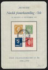 NORWAY 1951 PHILATELIC CLUB SOUVENIR SHEET NORDISK FRIMERKEUTSILLING OSLO