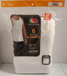 Fruit Of The Loom Men's White Tagless A-shirts Tank 6pk Sz M