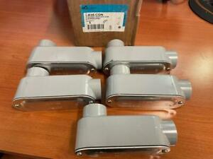 """Cooper Crouse Hinds LB35-CGN 1"""" Conduit Body w/Cover & Gasket (lot of 5)"""