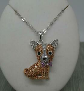 """Stunning Sterling Silver Cubic Zirconia Set Chihuahua Dog Pendant & 20"""" chain"""