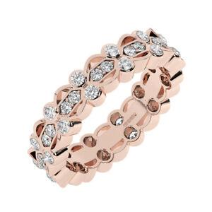 1.00 Cts Pave Set Round brilliant Cut Diamonds Full Eternity Ring 18K Rose Gold