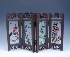 Home Decor Chinese Desktop Screen 4 Seasonal Flower Gift Box BRAND NEW #04261701