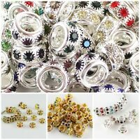 Sparkle Clear Crystal Charms Spacer Big Hole Charms Beads Fit European Bracelets