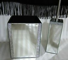 BELLA LUX Crystal Mirror Rhinestone WASTEBASKET & TOILET BRUSH HOLDER SET NEW