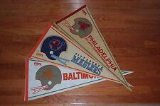 Lot of (3) Different 1982 USFL Full-Size Pennants: Baltimore, Pitt, Philadelphia