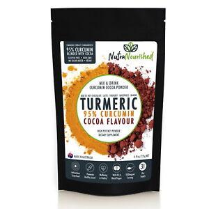 Turmeric 95% Curcumin Extract Powder Supplement, Cocoa Flavour, Vegan, Organic