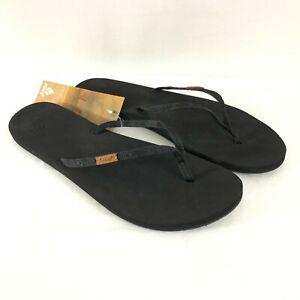 Reef Womens Sandals Flip Flops Slim Ginger Black Size 9
