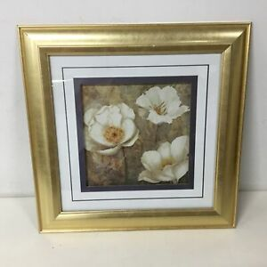 Print of White Flowers in Gold Wooden Frame #209