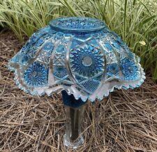 Handpainted Teal Blue & Clear Glass Garden Mushroom Repurposed Yard Decoration
