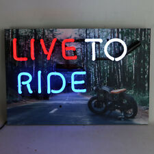 Neon sign Motorcycle Live to ride or die Garage lamp light open road Badge