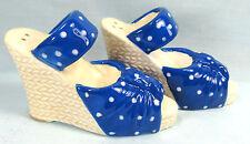 Blue with white polka dot wedge heel ceramic salt and pepper shakers